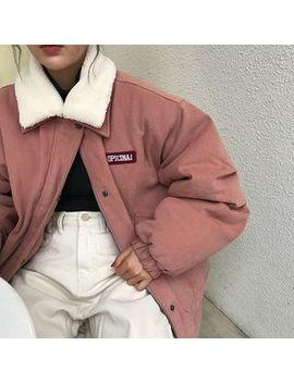 Monroll   Fleece Collar Padded Zip Jacket by Monroll