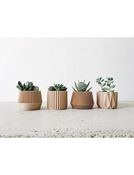 Set Of 4 Mini Geometric Wood Planters For Succulent Cactus by Etsy