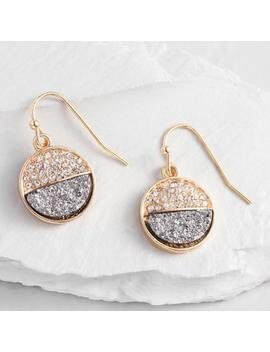 Gold Hematite Pave Circle Drop Earrings by World Market