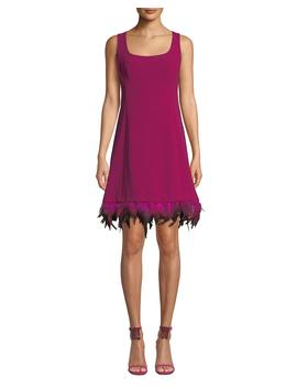 Provocative Sleeveless Dress With Dyed Feather Hem by Nanette Lepore