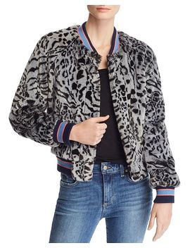 The Letterman Animal Print Faux Fur Bomber Jacket by Mother