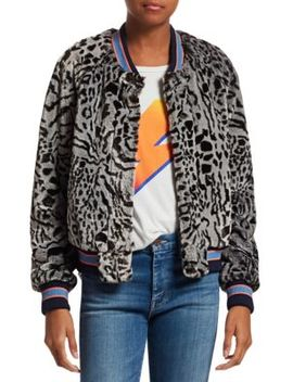 Faux Fur Leopard Letterman Jacket by Mother