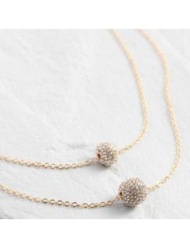 Gold Double Layer Pave Ball Necklace by World Market