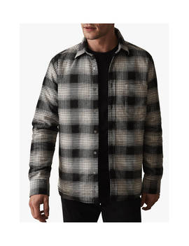 Reiss Peak Check Overshirt, Charcoal by Reiss