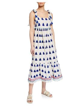 Mona Ikat Shoulder Tie Midi Dress W/ Tassels by Tessora