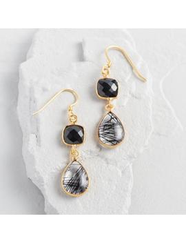 Gold Onyx Double Drop Earrings by World Market