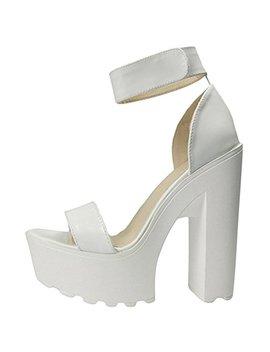 Ochenta Women's Fashion Platform Lug Sole Chunky High Heel Sandals by Ochenta