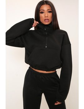 Black Half Zip Ponte Sweatshirt by I Saw It First