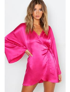 Satin Wide Sleeve Wrap Dress by Boohoo