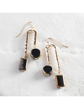Gold And Black Art Deco Drop Earrings by World Market