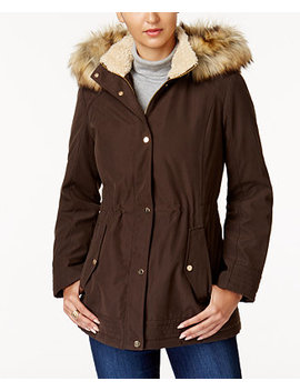Faux Fur Trim Parka by Jones New York