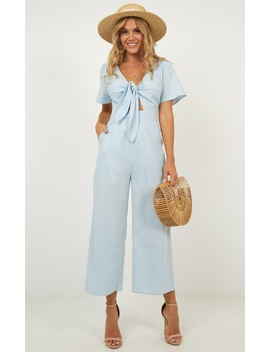 The Thing About Her Jumpsuit In Blue Linen Look by Showpo Fashion