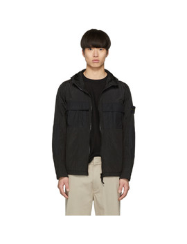 Black Nylon Metal Watro Ripstop Coat by Stone Island