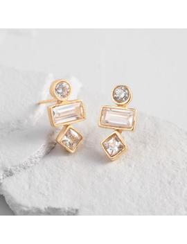 Triple Tier Shapes Cubic Zirconia Stud Earrings by World Market
