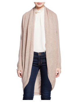 Curved Hem Open Front Long Cashmere Cardigan by Theory