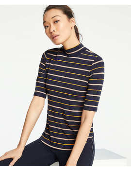 Stripe Mock Neck Tee by Ann Taylor