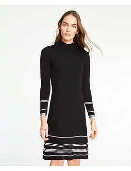 Petite Stripe Button Turtleneck Sweater Dress by Ann Taylor