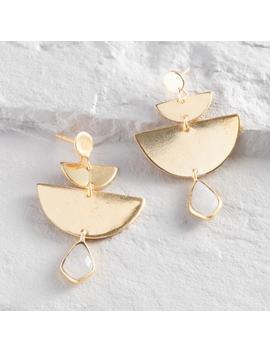 Gold Half Moon Geometric Moonstone Dangle Earrings by World Market