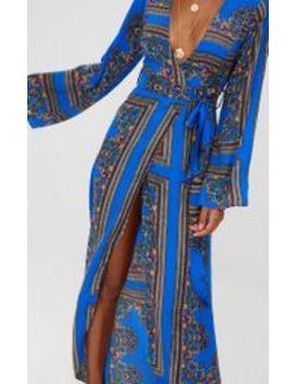 Cobalt Print Satin Kimono Maxi Dress Cobalt Print Satin Kimono Maxi Dress by Prettylittlething