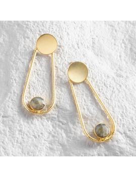 Gold Elongated Labradorite Drop Earrings by World Market