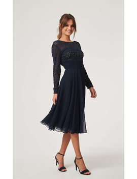 Georgie Navy Hand Embellished Midi Bridesmaid Wedding Evening Dress by Little Mistress