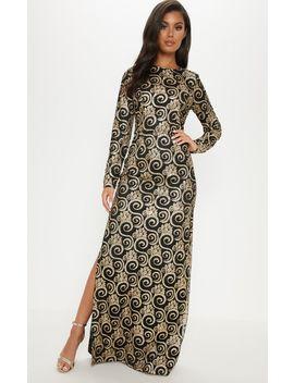 Black Glitter Long Sleeve Maxi Dress by Prettylittlething
