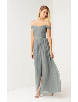 Waterlily Jewel Waist Bardot Maxi Bridesmaid Wedding Dress by Little Mistress