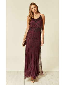 Keeva Maxi Bridesmaids Sequin Wedding Dress In Bordeaux by Lace & Beads