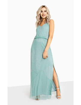 Alexis Green Beadwork Cami Maxi Evening Wedding Bridesmaid Dress by Little Mistress