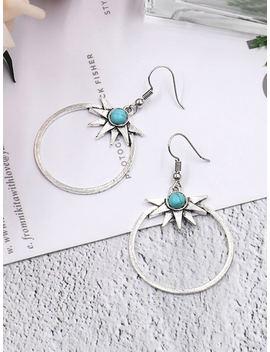 Turquoise Detail Hoop Drop Earrings by Sheinside
