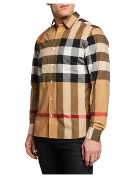Men's Windsor Check Sport Shirt by Burberry