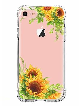 Luolnh I Phone 5 Case,I Phone 5s Se Case With Flowers, Slim Shockproof Clear Floral Pattern Soft Flexible Tpu Back Cover  Sunflower by Luolnh