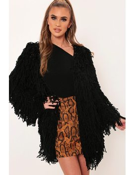 Black Long Line Shaggy Cardigan by I Saw It First