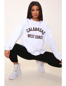 White Calabasas Varsity Slogan Oversized Sweatshirt by I Saw It First
