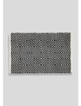 Flat Weave Geometric Bath Mat (80cm X 50cm) by Matalan