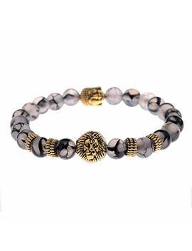 Erawan Men's Natural Black Lava Stone Bead Gold Lion Buddha Beaded Charm Bracelet 8mm Ew Sakcharn by Erawan