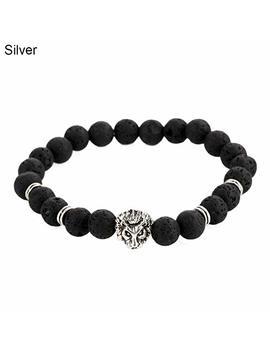 Wintefei 1 Pc Men Fashion Lava Stone Cool Lion Head Adjustable Beaded Cuff Charm Bracelet by Wintefei