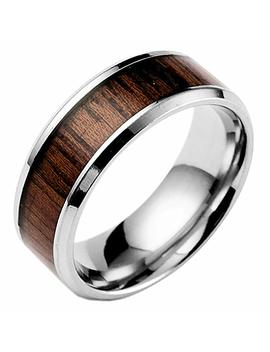Ameesi Men's Women's Fashion Creative Wide Band Wood Titanium Steel Ring Size 6 12 by Ameesi