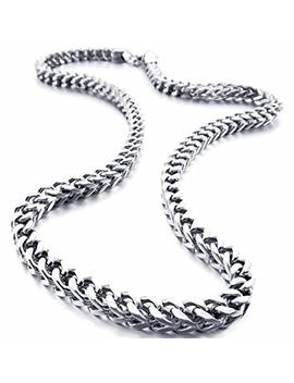 Inblue Men's 6mm Wide Stainless Steel Necklace Curb Chain Link Silver Tone by Inblue