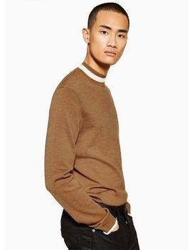Toffee Merino Tipped Turtle Neck Sweater by Topman