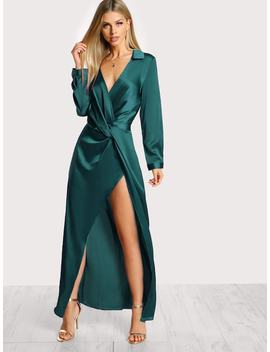 Collared Plunge Neck Twist Satin Dress by Shein