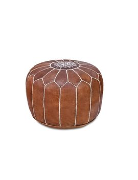 Stuffed Handmade Genuine Leather Moroccan Pouf, Ottoman by Generic