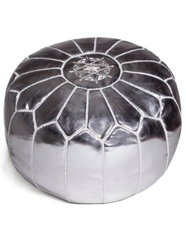 Handmade Moroccan Faux Leather Pouf Ottoman (Morocco) by Moroccan Buzz