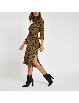 Khaki Leopard Print Tie Waist Shirt Dress by River Island