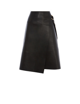 Faux Leather Wrap Skirt by Se029