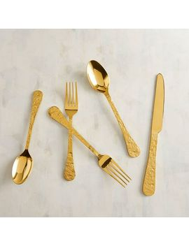 Textured Golden Stainless Steel Flatware, Set Of 20 by Pier1 Imports