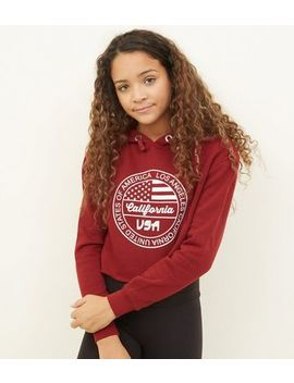 Girls Burgundy La Circle Logo Hoodie by New Look