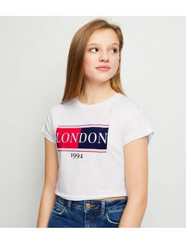 Girls White London Slogan T Shirt by New Look