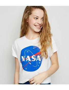 Girls White Nasa Logo Top by New Look