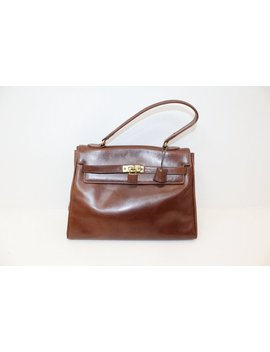 Vintage 1980s Leather Brown Kelly Grab Handbag Bag With Working Lock And Key by Etsy